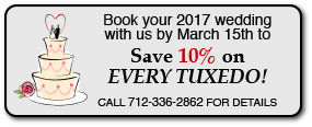 Book by March 15th to Save 10% on EVERY TUXEDO with Evans